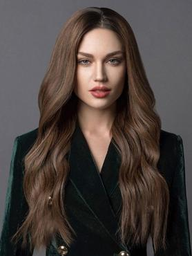 BROWN LONG WAVY HUMAN HAIR FULL LACE WIG FLW040