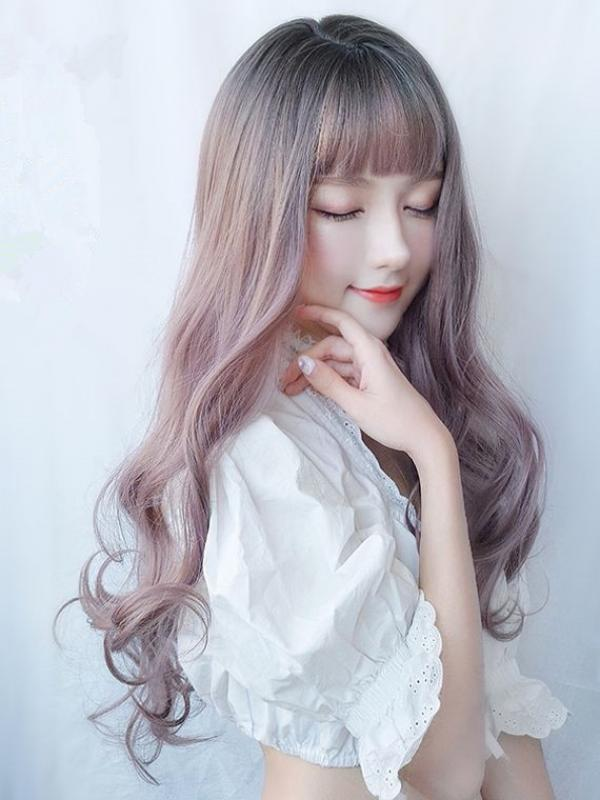 2019 New Silver Purple Ombre Wavy Long Synthetic Wefted Cap Wig LG005