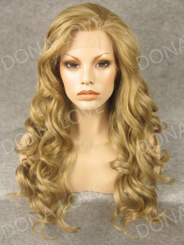 Strawberry blonde Waist-length Wavy Synthetic Lace Wig-SNY055