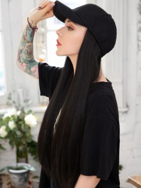 BASEBALL hat WITH SYNTHETIC HAIR, BLACK STRAIGHT WIG, wig hat WB001
