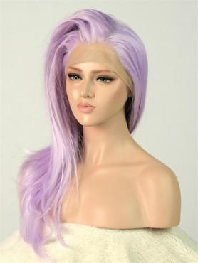 Purple Straight Waist-length Lace Front Synthetic Wig-DQ008