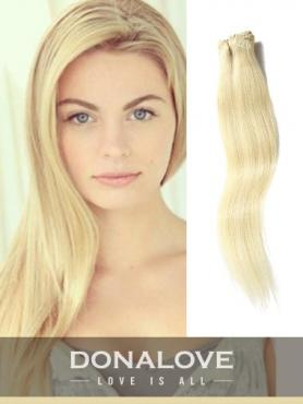 Pale Golden Blonde indian remy clip in hair extensions SD015