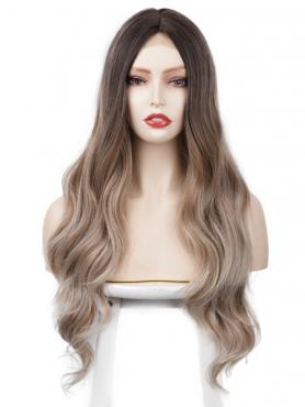 MIXED BROWN LONG WAVY MIDDLE PART LACE WIG MPL016