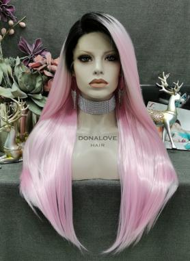 BLACK TO PINK STRAIGHT SYNTHETIC LACE FRONT WIG SNY324