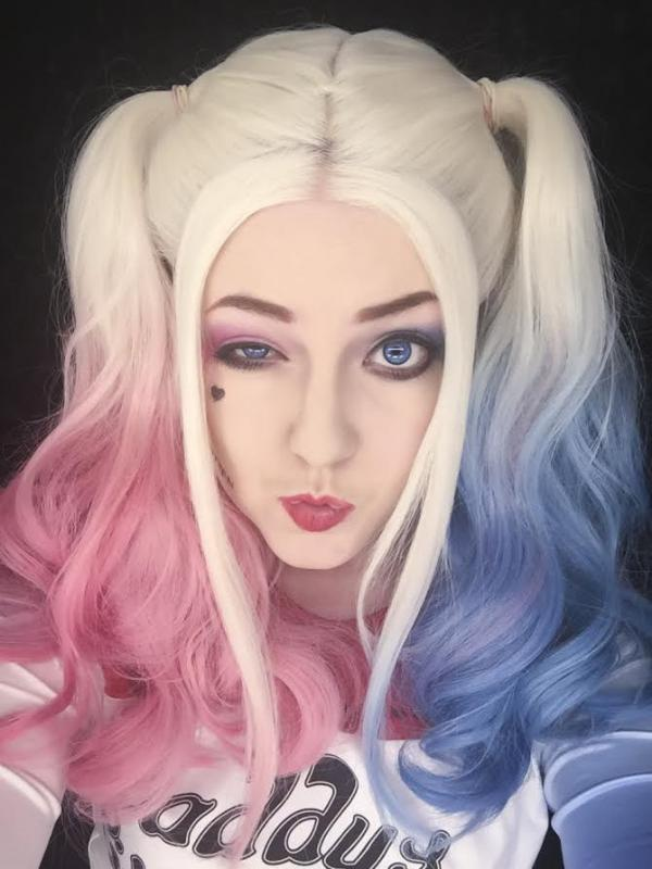 Harley Quinn Inspired Half pink half Blue Lace front synthetic Wig SNY096