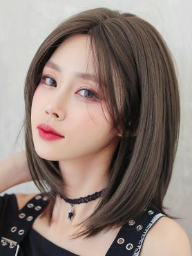 COOL BROWN MEDIUM LENGTH STRAIGHT SYNTHETIC WEFTED CAP WIG LG371