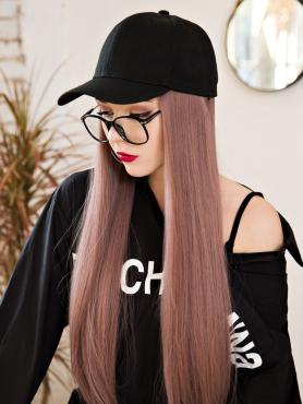 BLACK BASEBALL CAP WITH PEACHY PINK SYNTHETIC HAIR, WIG HAT WB012
