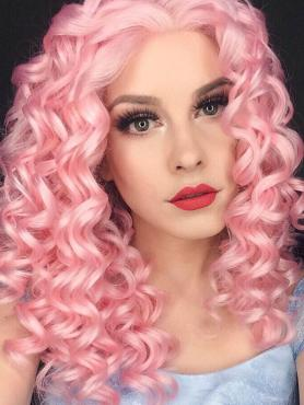 Pink bra strap length Curly Synthetic Lace Wig-SNY005
