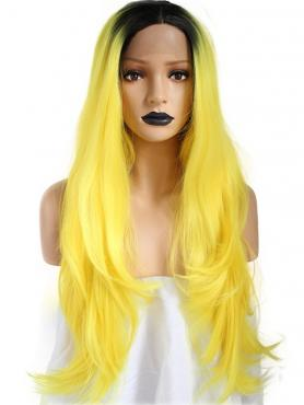 BLACK TO YELLOW LONG STRAIGHT SYNTHETIC LACE FRONT WIG SNY193