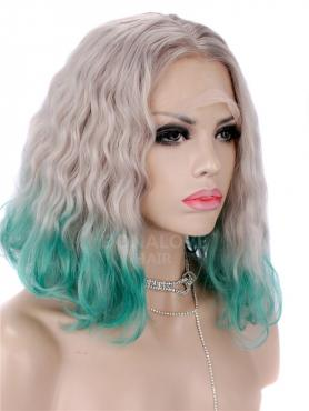 WHITE OMBRE GREEN CURLY SHOULDER LENGTH SYNTHETIC LACE FRONT WIG SNY268