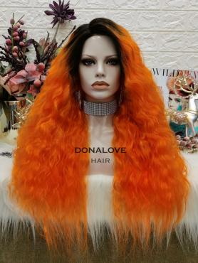 BLACK TO ORANGE CURLY LONG SYNTHETIC LACE FRONT WIG SNY312