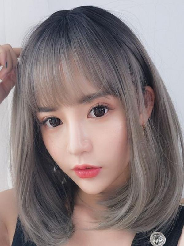 2019 New Smoke Gray Straight Synthetic Wefted Cap Wig LG002