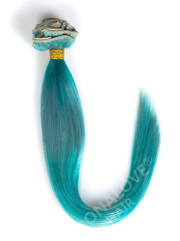 Green-Shade Colorful Indian Remy Clip In Hair Extensions CD019