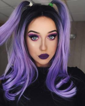 BLACK TO PURPLE SYNTHETIC LACE FRONT WIG SNY066