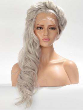 Gray Wavy Long Lace Front Synthetic Wig-DQ032