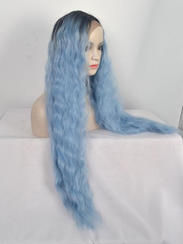 Black To Light Blue Wavy Lace Front Synthetic Wig Sny114 Synthetic