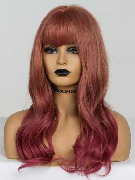 RED OMBRE WAVY SYNTHETIC WEFTED CAP WIG WW019