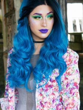Black to Blue Mermaid Wavy Lace Front Synthetic wig SNY083