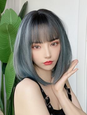 DUSTY BLUE STRAIGHT SYNTHETIC WEFTED CAP WIG LG305