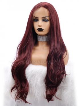 DARK RED LONG WAVY SYNTHETIC LACE FRONT WIG SNY269