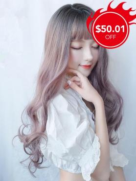 New Silver Purple Ombre Wavy Long Synthetic Wefted Cap Wig LG005