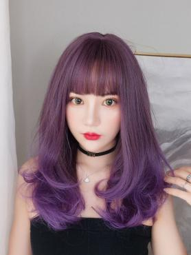 New Purple Ombre Mid-Length Synthetic Wefted Cap Wig LG033