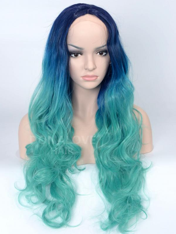 Dark Blue to Teal Wavy Synthetic Lace Front Wig-SNY076