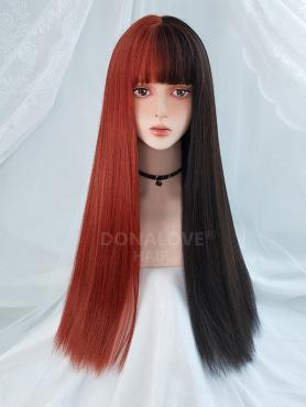 HALF BLACK AND HALF RED LONG STRAIGHT SYNTHETIC WEFTED CAP WIG LG211