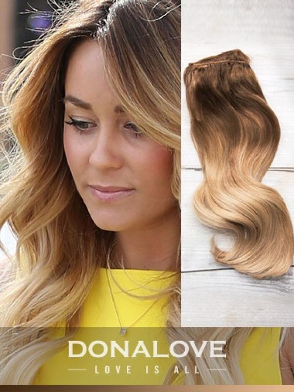 Two colors ombre indian remy clip in hair extensions OD004