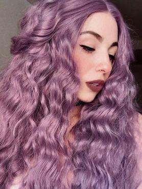 NEW Lavender Purple Shade Slight Beach Wavy Synthetic Lace Front Wig SNY112