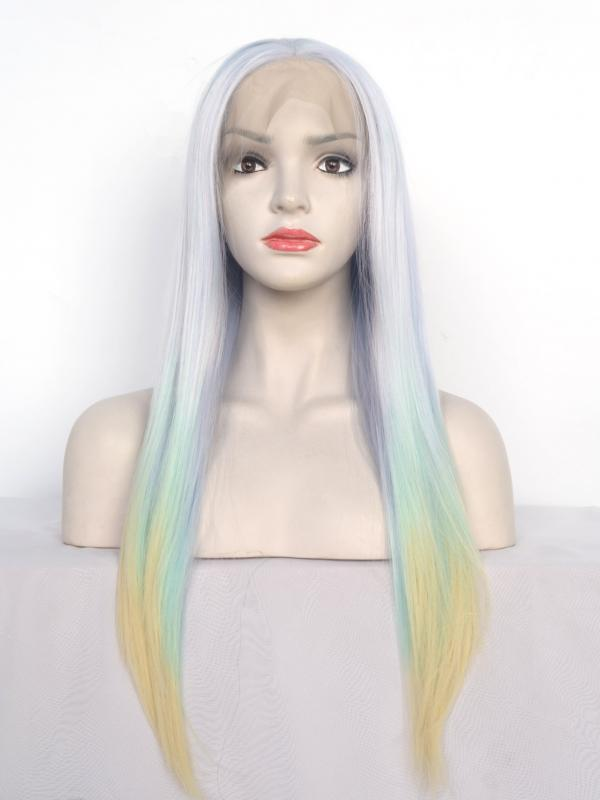 Pastel Rainbow Color Straight Synthetic Lace Wig-SNY046