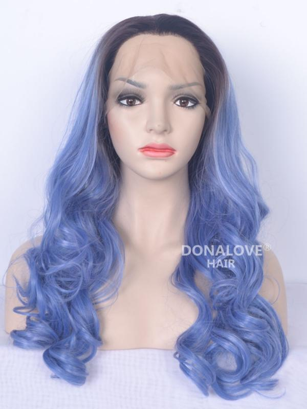 Black to Blue Mermaid Wavy Synthetic Lace Front Wig-SNY070