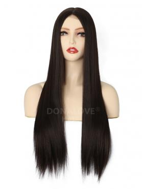 MIXED BROWN LONG STRAIGHT MIDDLE PART LACE WIG MPL002