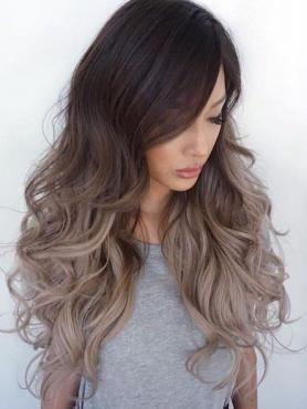 Dark Brown Ombre Ash blonde Long Wavy Lace Front Human Hair Wig HH039