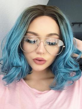 Teal Blue Wavy Bob Lace Front Synthetic Wig SNY098