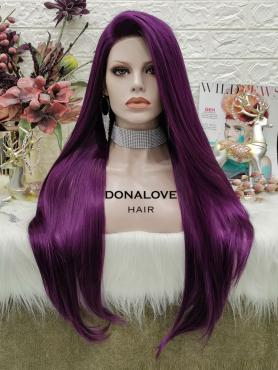 PURPLE LONG STRAIGHT SYNTHETIC LACE FRONT WIG SNY315