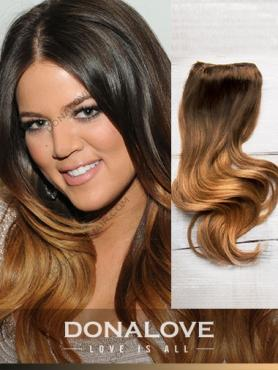 Two colors ombre indian remy clip in hair extensions OD008
