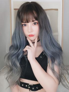 NEW GRAY MIXED HAZE BLUE LONG WAVY SYNTHETIC WEFTED CAP WIG LG063