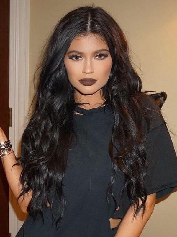 kylie Jenner Inspired Black Wavy Lace Front Human Hair Wig HH048
