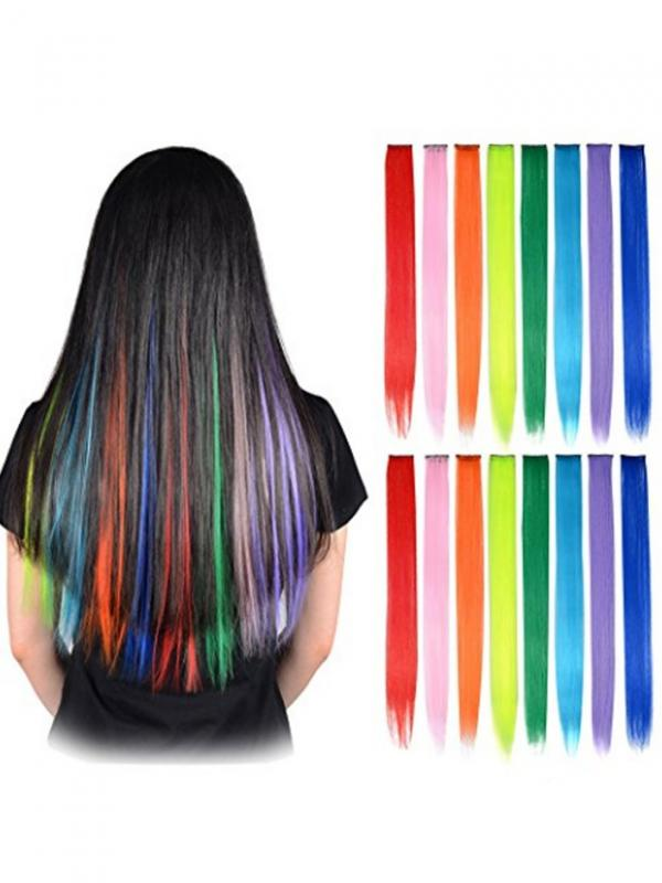 Party Highlights Colorful Clip in Synthetic Hair Extensions,straight long Hairpiece C001