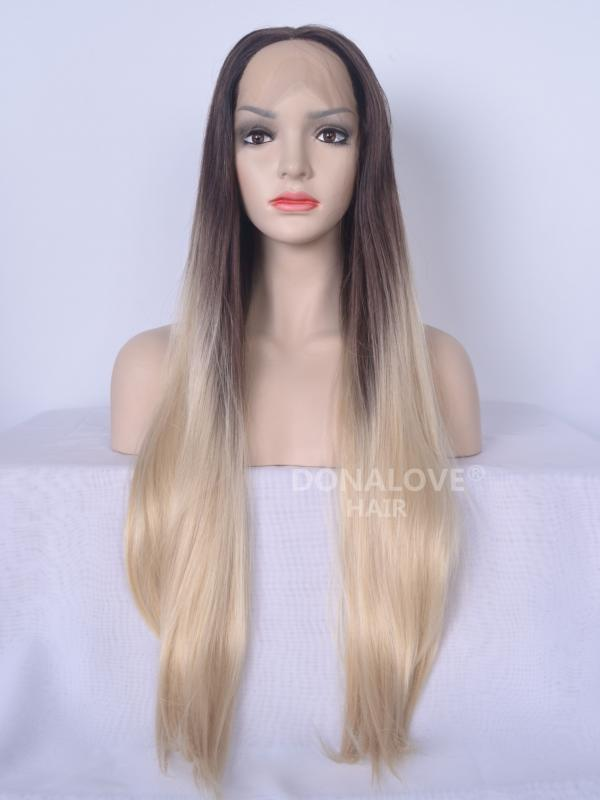Dark Brown Ombre Blonde Long Synthetic Lace Front Wig SNY094