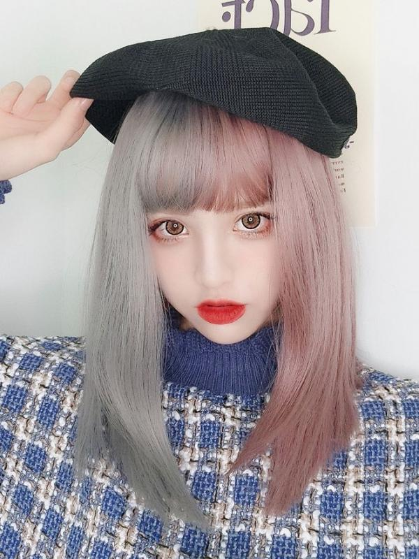 2019 Pastel Half Gray Half Pink Synthetic Wefted Cap Wig LG017