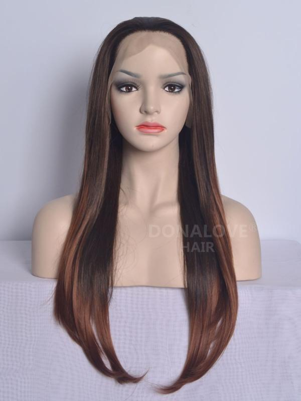 Black ombre brown Waist-length Straight Synthetic Lace Wig-SNY004