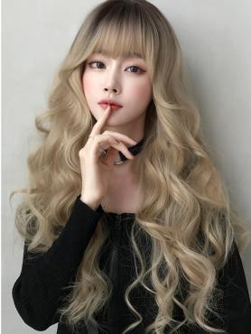NEW WHITE BROWN LONG WAVY SYNTHETIC WEFTED CAP WIG LG056