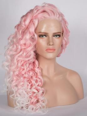 Pink Curly Long Lace Front Synthetic Wig-DQ009