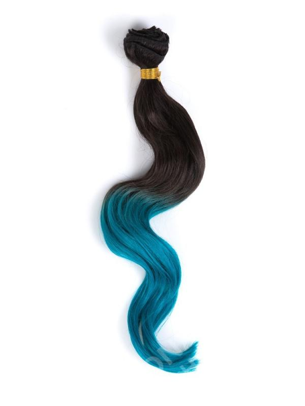 Black To Blue Shade Color Coloful Ombre Clip In Hair Extensions