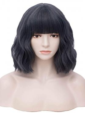NEW BLACK WAVY SYNTHETIC WEFTED CAP WIG WW042