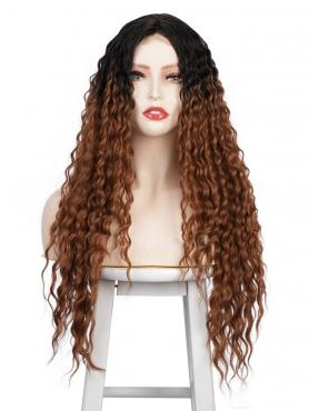 BLACK TO COPPER LONG CURLY MIDDLE PART LACE WIG MPL004