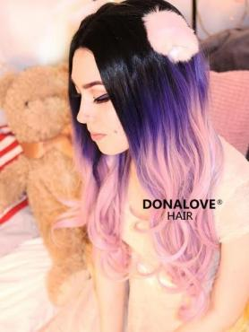 Dark Purple to Pink Waist-Length Wavy Snythetic Lace Wig-SNY056