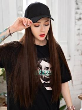 Black Baseball hat With Brown Synthetic Hair, wig hat WB003